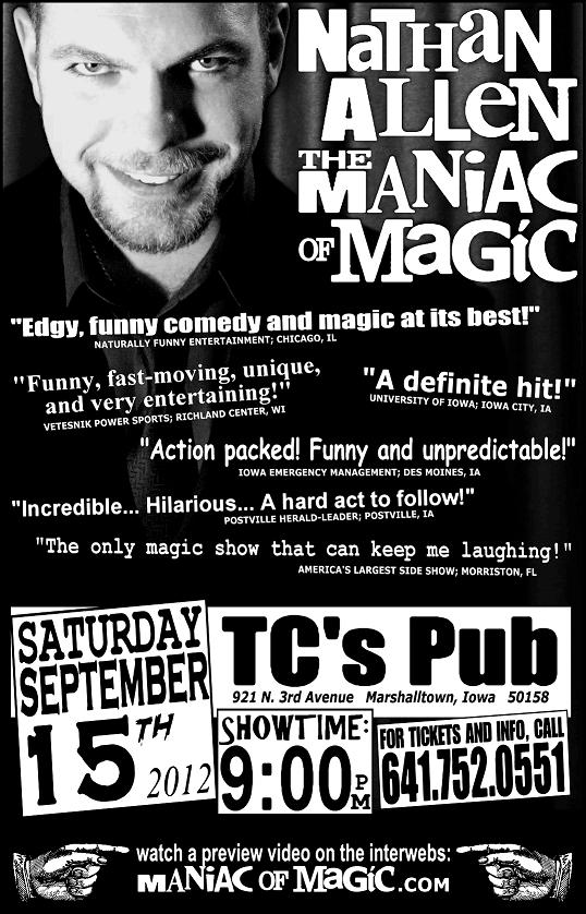 TCs PUB MARSHALLTOWN IOWA – Nathan Allen, The Maniac of Magic – Comedian Magician Entertainer Entertainment – Des Moines, Iowa