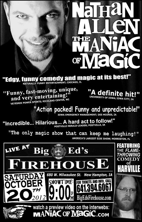 BIG ED'S FIREHOUSE NEW HAMPTON IA – Nathan Allen, The Maniac of Magic – Comedian Magician Entertainer Entertainment – Des Moines, Iowa