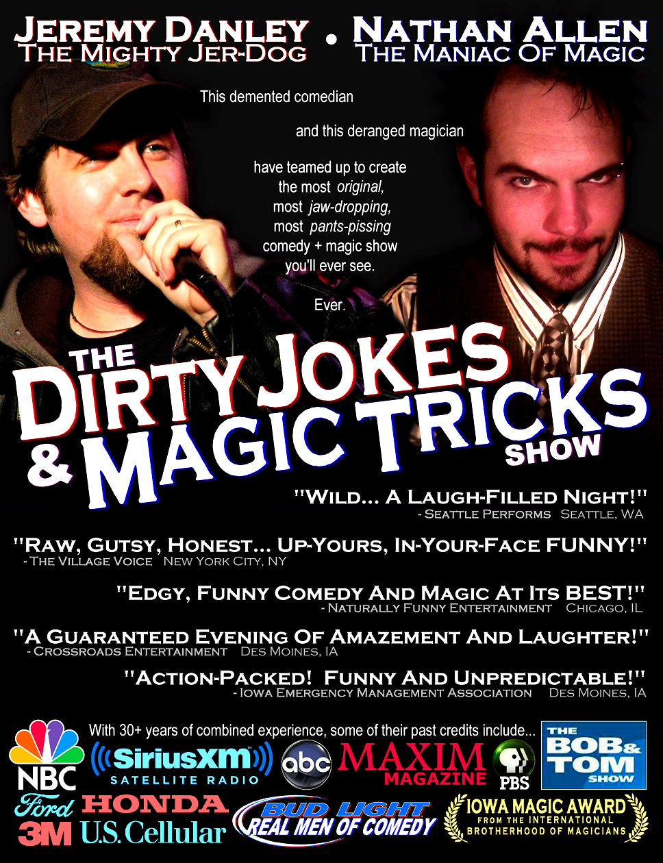 DIRTY JOKES AND MAGIC TRICKS generic poster Nathan Allen The Maniac of Magic Comedian Magician Entertainer Entertainment Des Moines Iowa