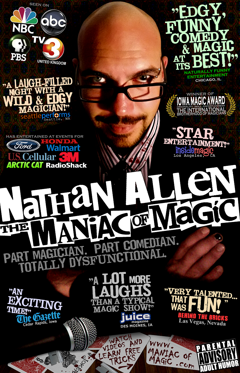 POSTER LOW RES Nathan Allen The Maniac of Magic Iowa Comedian Iowa Magician Iowa Entertainer Iowa Entertainment