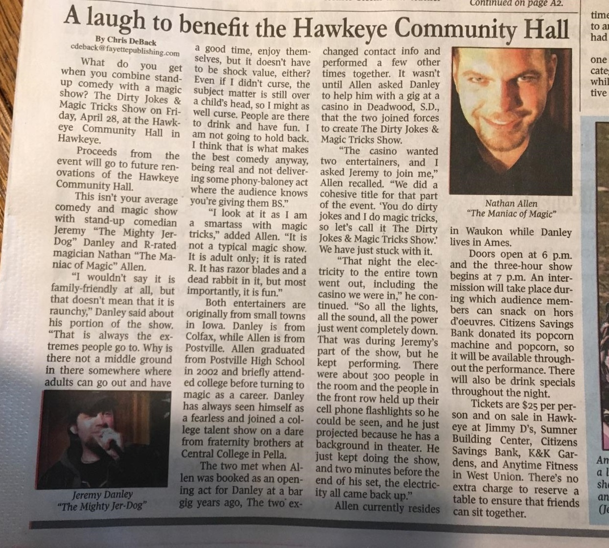 2017.04.28 Hawkeye Iowa comedy magic show article