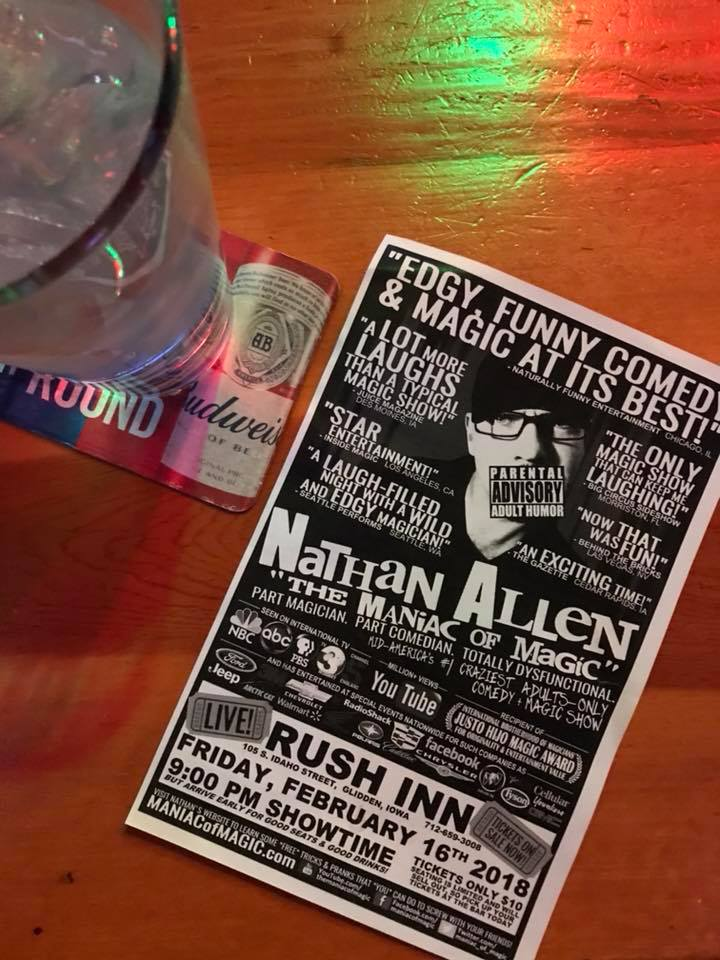 rush inn-glidden-iowa-comedy-magic-show-fri-february-16-2018