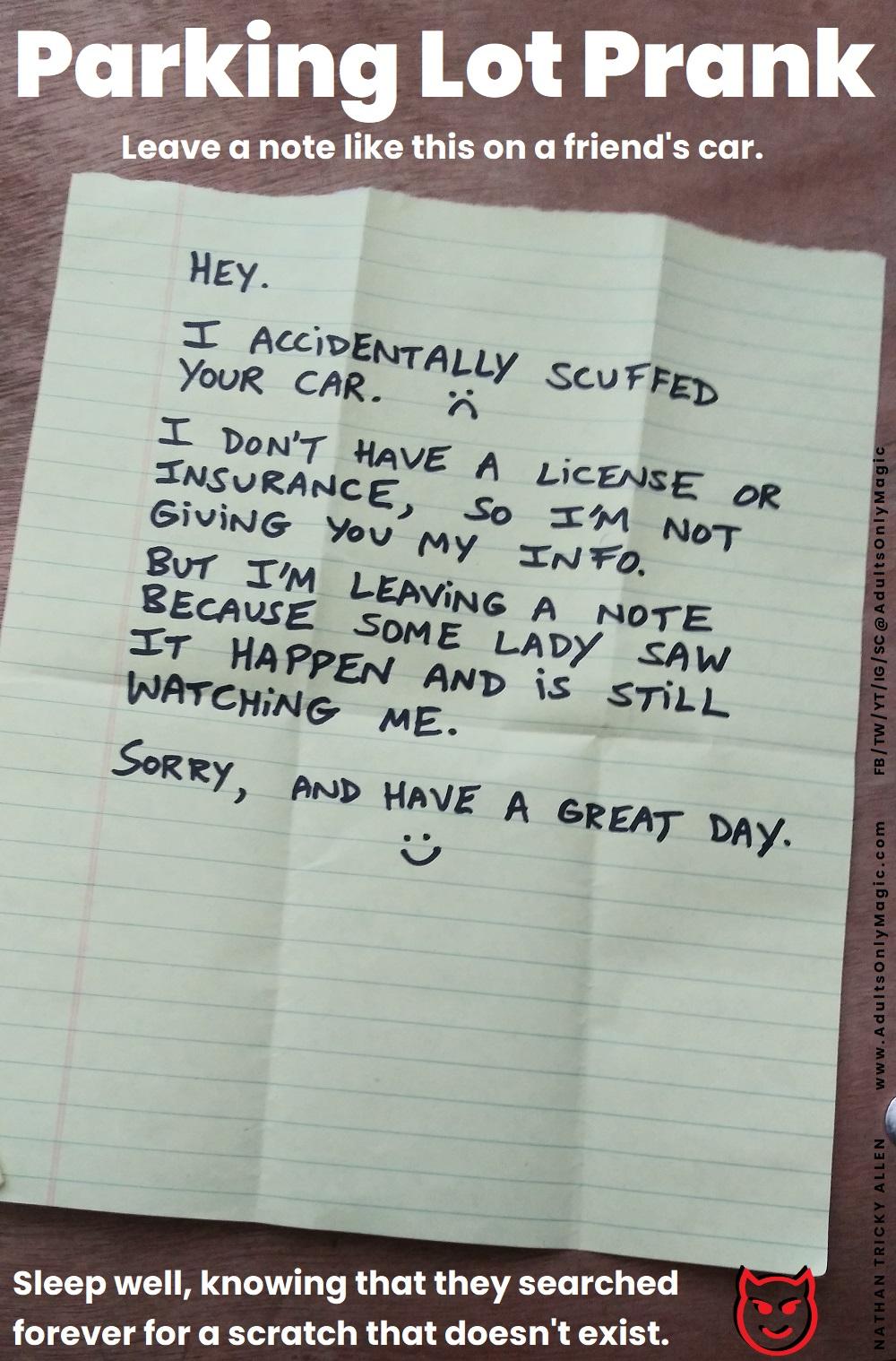 parking lot prank